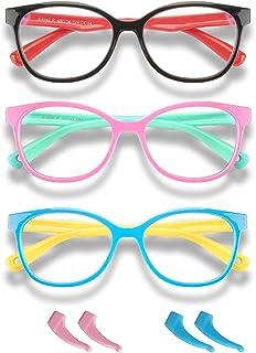 Blue Light Glasses for Kids Boys Girls Teens 3 Pack Premium Computer Glasses Unbreakable Frame Anti Eyestrain UV Protection Anti Glare Prevent Headache (Age 3-15)