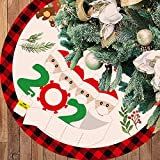 36 Inches Large Christmas Tree Skirt, Red and Black Buffalo Plaid Border Layers with Thick Felt Lining, Checked Tree Skirt Mat for Xmas New Year Holiday Party Home Decorations
