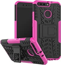 Huawei Honor V9 Case, Ikwcase Heavy Duty Armor Tough Hybrid Shockproof Dual Layer Kickstand Protective Case Cover for Huawei Honor V9 Hotpink