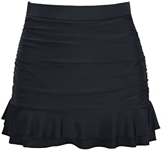 04e4d2eafe Hilor Women s Skirted Bikini Bottom High Waisted Shirred Swim Bottom Ruffle Swim  Skirt