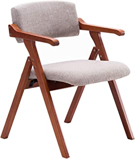 HLYT-Barstools Chairs Folding Chair Solid Wood Dining Chair Armchair Home Restaurant Desk Balcony Chair Meeting Leisure Chair/Flat Linen/Maximum Load 200KG