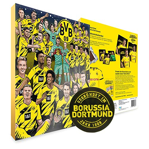 Borussia Dortmund Comic-Adventskalender / Kalender gefüllt mit 25 Täfelchen Vollmilchschokolade und 36 exklusiven Autogrammkarten BVB 09