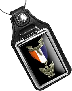 Brotherhood Eagle Scout Boy Scout Reproduction Emblem Faux Leather Keychain Key Holder Key Ring for Men Heavy Duty Car Keyring for Men and Women