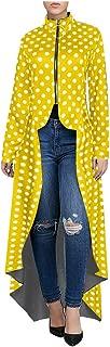 Lazapa Evening Dress for Women, Crewneck Polka Dot Tuxedo Skirt Irregular Long Hem Suit Skirt Fashion Wild Party Dress Fall Long-Sleeve Daily Dress