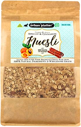 Urban Platter Nut Delight Muesli- Apricot & Cinnamon, 500g / 17.64oz [No Added Sugar, Gluten-Free, Wholegrain Breakfast Cereal]