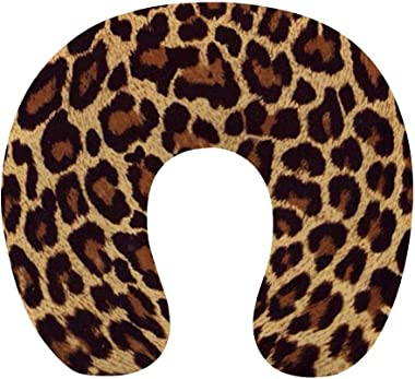 NiYoung Breathable Comfortable Cool Cheetah Leopard Print Neck Pillow Soft Memory Foam U Shaped Travel Pillow for Airplane Ho