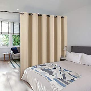 NICETOWN Room Dividers Curtains Screens Partitions, Extra Wide Grommet Top Handing Room Dividers Blackout Curtain Panel for Apartment, Studio (Biscotti Beige, Single Pack, 8ft Tall x 10ft Wide)