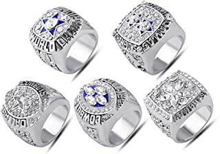 AJZYX Dallas Cowboys Supper Bowl Championship Rings Full Set Replica Ring Collectible Yellow and White Size 9-12