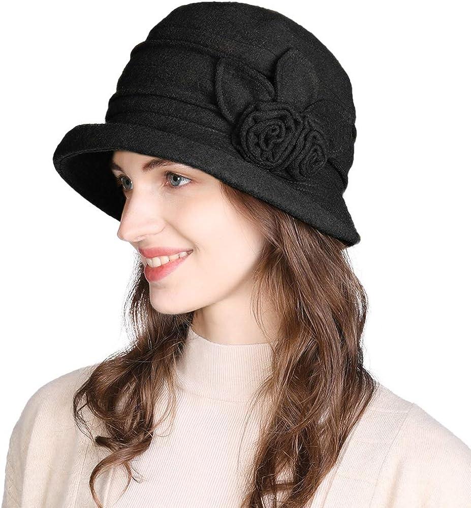 1920s Style Hats Cloche Round Hat for Women 1920s Fedora Bucket Vintage Hat Flower Accent  AT vintagedancer.com