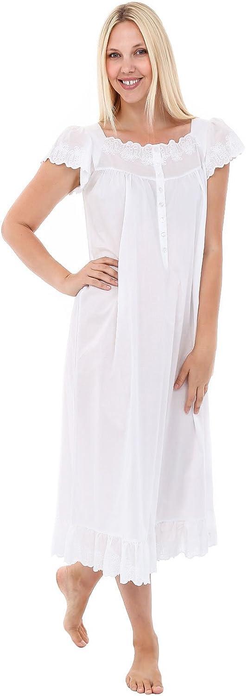 Alexander Del Rossa Womens pink Cotton Nightgown, Raglan Sleeve Victorian Sleepwear