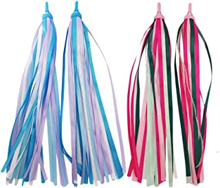 LIOOBO 2pcs Kids Bike Handlebar Streamers Colorful Ribbons Tassel for Girls Boys Scooter Handgrip (Blue and Pink)