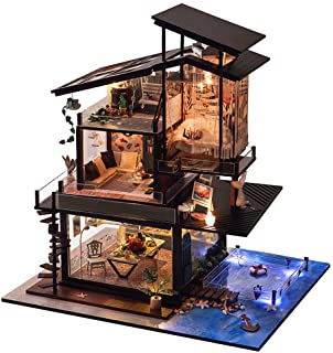 Kisoy Miniature DIY Dollhouse Kit with Furniture Accessories Creative Gift for Lovers and Friends (Valencia Coast) with Du...