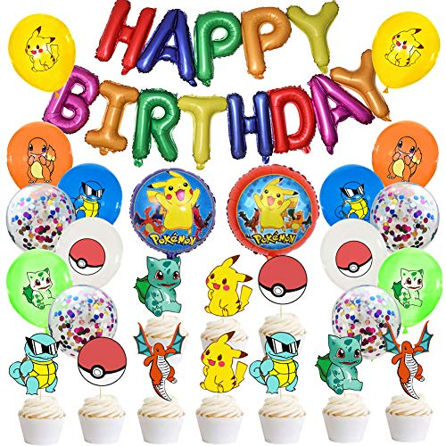 Globo Pokémon, 39 Piezas Helium Foil Balloons Pokemon Pikachu Globos de Fiesta Aluminio Globo Suministros de Fiesta para Niños Decoraciones Suministros