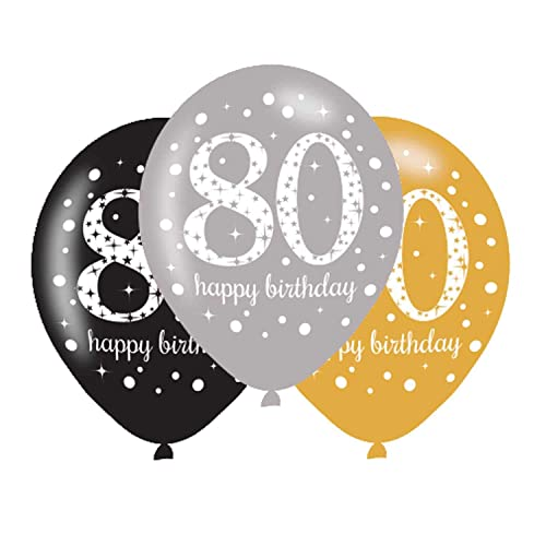 80th Birthday Balloons Black Silver Gold Pack Of 6