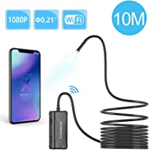 Wireless Endoscope, TODSKOP 5.5mm WiFi Borescope 1080P Semi-Rigid Waterproof Inspection Camera, 2.0MP HD Snake Pipe Camera for Android and iOS Smartphone, iPhone, Samsung Tablet PC (33FT)