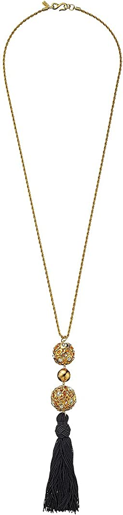 Gold Chain with Gold and Crystal Ball and Black Tassel Necklace