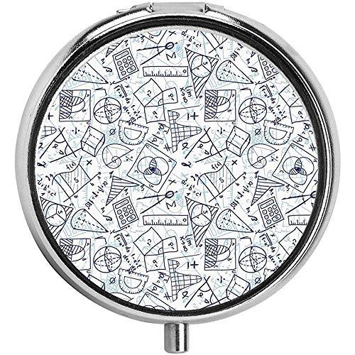 Doodles Berekeningen Cirkels Driehoeken Pil case Ronde Pil Box voor Pocket - Drie-Compartiment Pill Box/Pill case