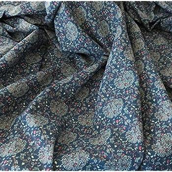 Tela de algodón floral para césped – por metro – por Peter Horton – 100% algodón Azul Floral 3 - Estilo