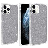 Square Case for iPhone 12 /Designed for iPhone 12 Pro 6.1' VUIIMEEK Clear Glitter Design,Cute Crystal Sparkle Flexible Soft Impact Shockproof Reinforced Bumper Protective Cover Case, Silver