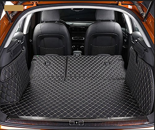 Worth-Mats Trunk Tray All-Weather Rear Cargo Liner Custom for Porsche Cayenne 2011-2018 with Block net on The Left Side of Trunk - Black