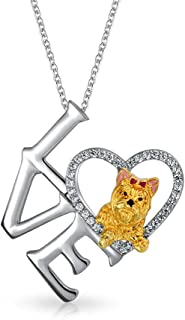 BFF Love Heart Puppy Pet Dog Yorkie Pedant Necklace for Women for Teen Gold Silver Plated Brass with Chain