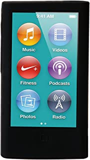 ColorYourLife iPod Nano Silicone Cases Skins Covers for New iPod Nano 8th Generation 7th Generation with 1 Screen Protector and Cleaning Wipe (Black)