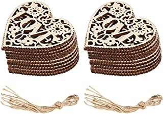 Soochat 20 Pieces Heart Wooden Embellishments Wood Tags Hollowed-Out Love Heart Hanging Ornament for Wedding Valentine's Day Gift DIY