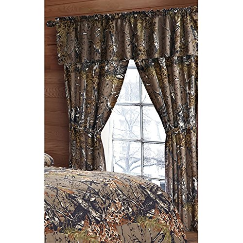 Regal Comfort The Woods Green Camouflage 5pc Curtain Set for Hunters Cabin or Rustic Lodge Teens Boys and Girls (Curtain, Natural Green)
