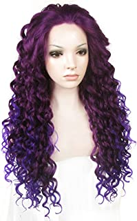 Ebingoo Fashion Purple Ombre Lace Front Wig Long Curly Wavy Synthetic Lace Party Wigs Heat Resistant Fiber