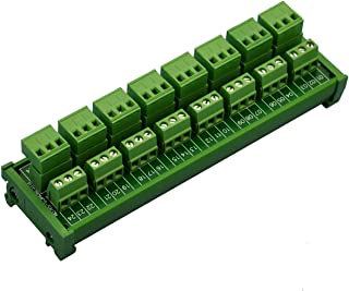Electronics-Salon DIN Rail Mount Pluggable 8x3 Position 10A / 300V Screw Terminal Block Distribution Module. (Top Wire Connects)