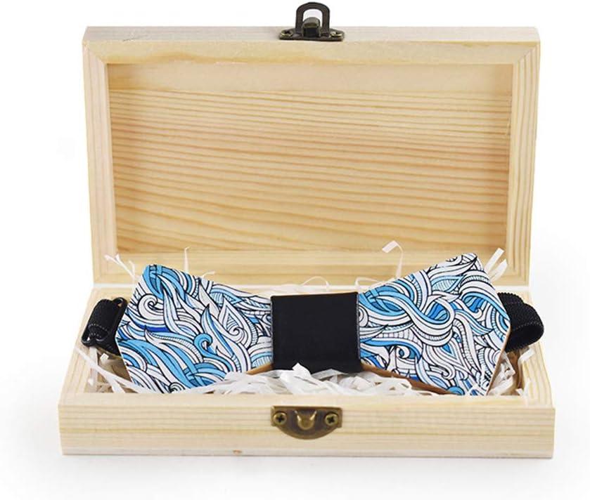 Opled Wooden Bow Tie Men's Women's Creative Print Bow Tie Color (Color : Blue, Size : 59.5cm)