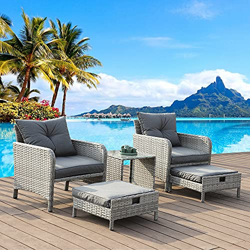 Outdoor Patio Furniture Wicker 5 Piece Ottoman Chair - with Footpad, Upholster and Glass Coffee Table Small Set for Balcony Garden Yard Porch Pool Deck Embossed Rattan Cushion (Grey Rattan 5, Grey)