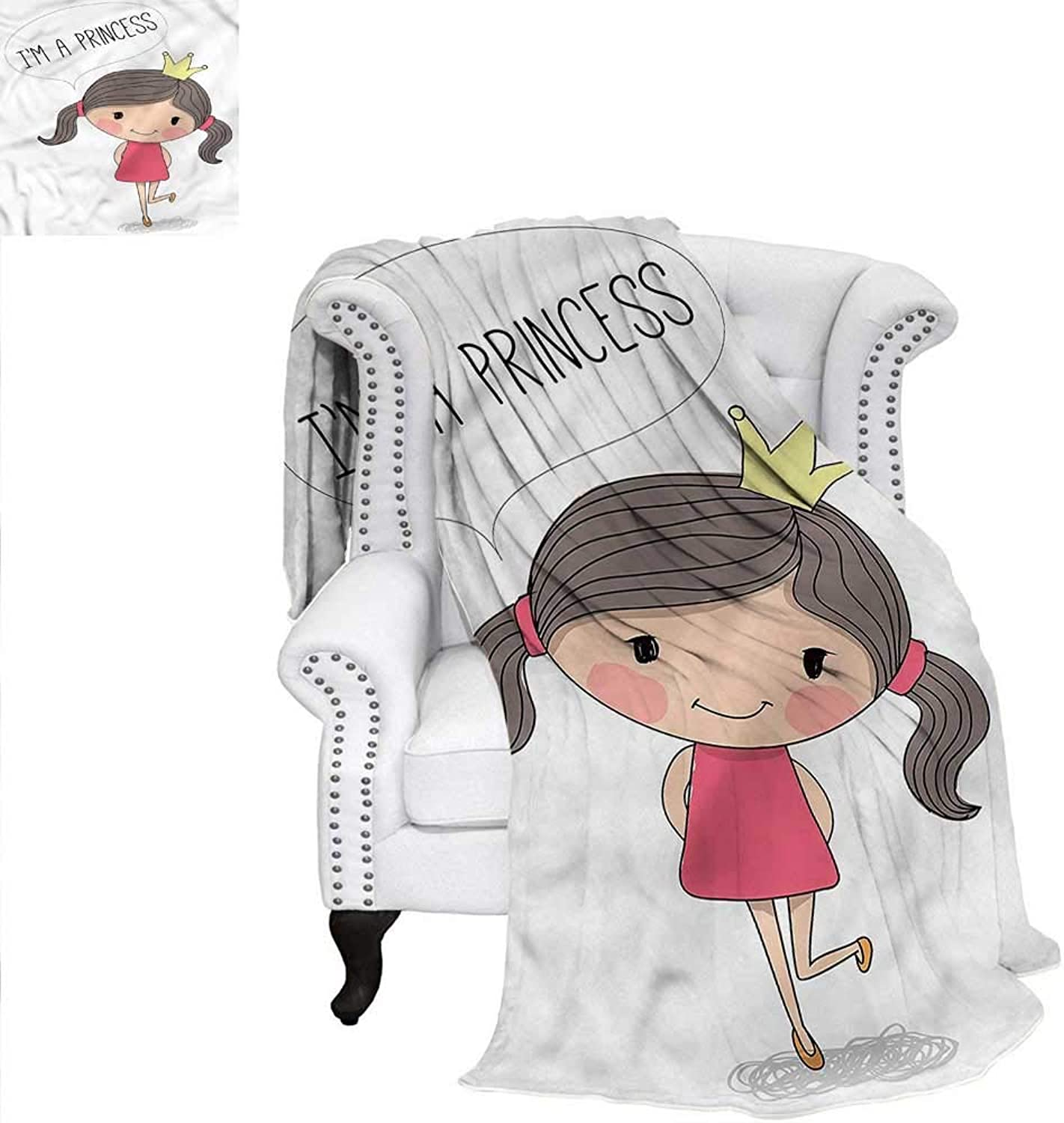 Princess Flannel Blanket Girl Reddish Cheeks Blanket 60 x36