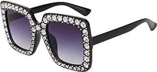 ROYAL GIRL Elton Square Rhinestone Sunglasses Oversized Diamond Bling Bling Glasses