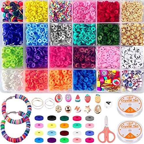 Juego de manualidades para joyas, 6 mm, planas, redondas, de polímero, para enhebrar, para niños, 18 colores, para pulseras y pendientes, collares, fabricación de joyas
