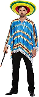 Mens Mexican Blue Striped Poncho Bandit International Fancy Dress Costume Outfit (One Size)