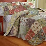 Finely Stitched 5pc Cottage Country Floral Patchwork Reversible Cotton Quilt Set King Size - Includes Bed Sheet Straps