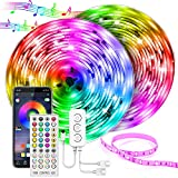 UALAU 65.6FT LED Strip Lights Waterproof, 5050 RGB Brighter 600 LEDs Light Strips for Bedroom, Multi-Color Changing with APP & Remote Control Led Lights for Home Decoration Outdoor