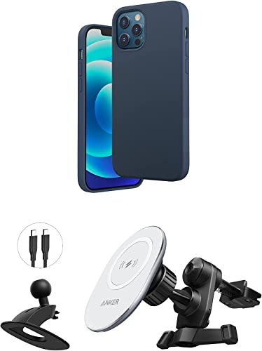 discount Anker Magnetic Silicone Case, 6.1 Inches for iPhone 12 (Dark Blue) & popular lowest Anker PowerWave Magnetic Car Charging Mount with 4 ft USB-C Cable (USB-C Car Charger Not Included) online