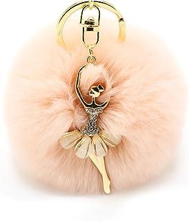 COGEEK Little Angel Crystal Ballet Dancer Pendant Plush Rabbit Hair ball Car Keychain Handbag (pink)
