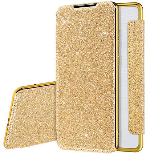 Glitzer Hülle für Samsung Galaxy A20/A30 Hülle Ledertasche,Galaxy A20/A30 Lederhülle Handyhülle Wallet Brieftasche Flip Tasche Schutzhülle,Bling Glänzend Flip Hülle Handy Tasche Hülle Cover,Gold