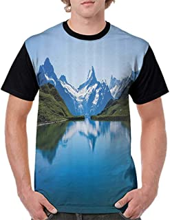 Casual Blouses Tops,Apartment Decor Collection,Famous Majestic Snowy Peaks in Northern Europe Like Pyramids Made by High Hills Alps,Blue Green S-XXL Women's Sleeve Raglan
