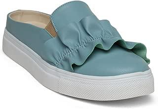 KANABIS Women's Frill Thrill-Blue Fashion Sandals
