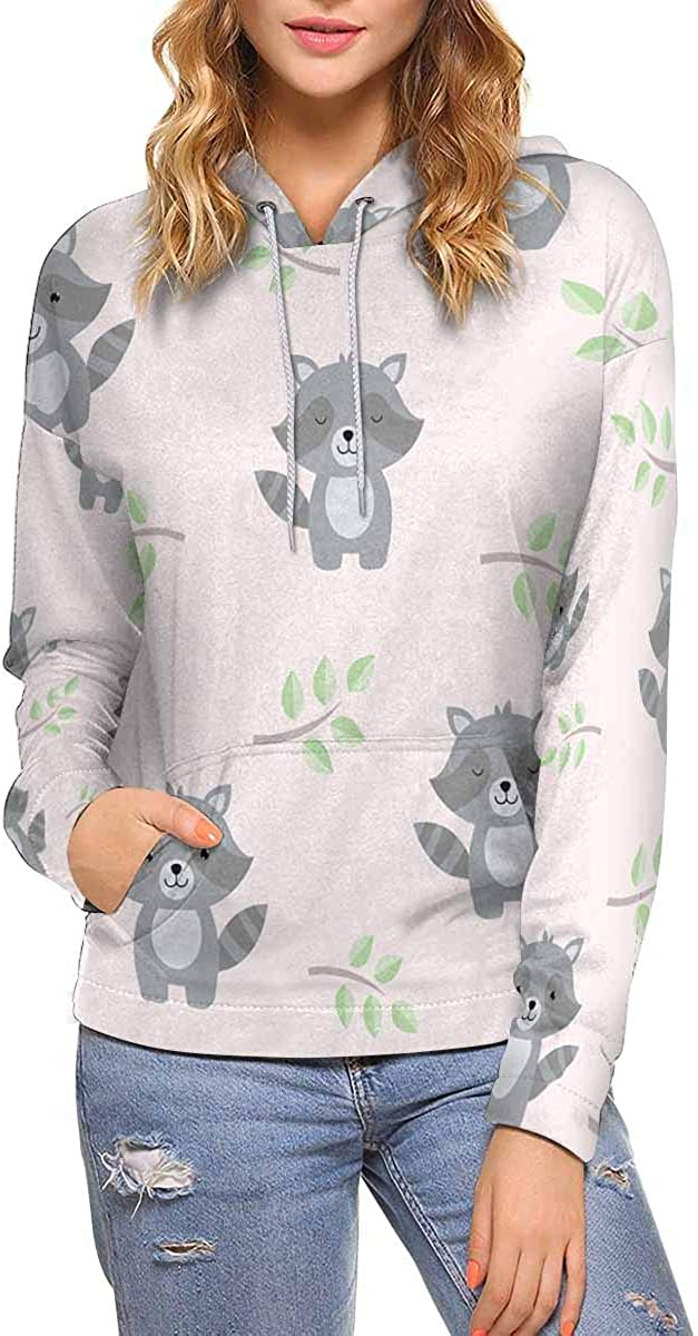 Max 68% OFF InterestPrint Cute Baby Raccoons Women sold out Hood Pullover Long Sleeve
