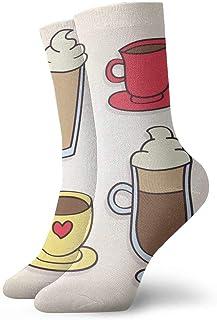 tyui7, Tazas de café dibujadas a mano Calcetines de compresión antideslizantes Cosy Athletic 30cm Crew Calcetines para hombres, mujeres, niños