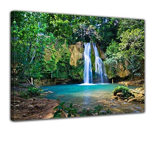 Bilderdepot24 Bild auf Leinwand | Wasserfall im Wald II in 80x60 cm als Wandbild | Wand-deko Dekoration Wohnung modern Bilder | 170607