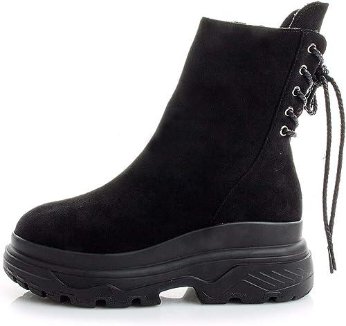 HBDLH Chaussures pour Femmes Rétro - Muffin épais Bas Martin Bottes 6 Cm Au Pied Les Chaussures Bottes Bottines.