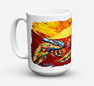 Caroline's Treasures MW1113CM15 Crab Buster Brown Microwavable Ceramic Coffee Mug, 15 oz, Multicolor