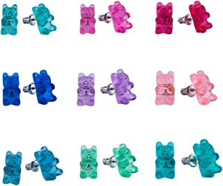Hypoallergenic Plastic Post Earrings for Girls, Cute Multiple Animal Unicorn Donut Stud Earrings for Little Girls Kids, Made with Polymer Clay, Best gifts for girls for Christmas, (30 Pairs)