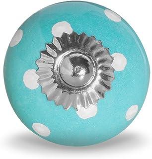 Bouton de meuble à pois - Grand modèle (turquoise/blanc)